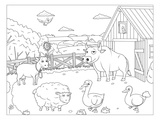 Farm - Kids Coloring Design Print by  Anonymous