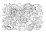 Flower Bouquet Coloring Art Print by  Anonymous