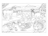Farm Animals - Kids Coloring Art Prints by  Anonymous