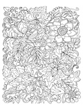 Flowers & Leafs Design Coloring Art Print by  Anonymous