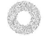 Floral wreath Lineart Art by  Anonymous