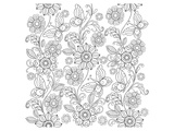 Flowers and Butterflies Lineart Prints by  Anonymous