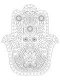 Hamsa Coloring Pattern Art by  Anonymous