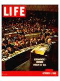 LIFE Eisenhower at U.N. 1960 Giclee-tryk i høj kvalitet af Anonymous
