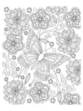 Floral Butterfly Coloring Art Posters by  Anonymous