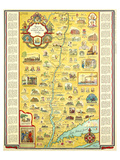 Hudson River Romance Map 1937 Prints by George Annand