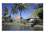 Polynesian Thatched Huts Oahu HI Premium Giclee Print by  Anonymous