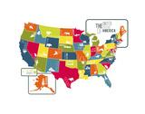 USA Map (bright) Print van Katelyn Lynch