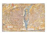 Plan of Paris from 1553 Prints by  Truschet et Hoyau
