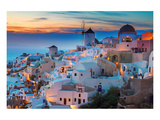 Oia at night Santorini Greece Kunstdruck von  Anonymous