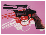 Gun, c. 1981-82 (black, white, red on pink) Posters by Andy Warhol