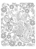 Peacock And Flowers Coloring Art Posters by  Anonymous