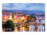 Prague cityscape at night Posters van  Anonymous