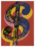 Dollar Sign, 1981 (black and yellow on red) Print by Andy Warhol