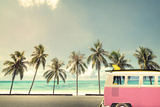 Vintage Car on the Beach with a Surfboard Photographic Print by  jakkapan