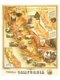 Unique Map of California 1885 Posters by E. McD. Johnstone