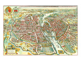 Merian map of Paris 1615 Prints by Matheus Merian