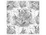 Sunken Pirateship Pattern Prints by  Anonymous
