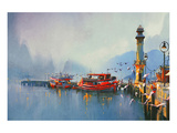 The Morning Harbor Print by  Anonymous