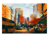 Sunrise in the City Print by  Anonymous