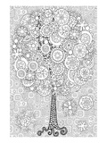 Anonymous - Snowy Tree Coloring Art - Poster