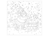 Santa At The Chimney Coloring Art Poster by  Anonymous