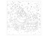 Santa at the Chimney Coloring Print by  Anonymous
