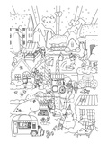 Anonymous - Snowy Town Kids Coloring Art - Resim