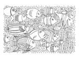 Tropical Fish Coloring Lineart Prints by  Anonymous