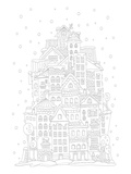 Tower Of Houses In Winter Coloring Art Posters by  Anonymous