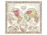 World in Hemispheres 1864 Prints by  Mitchell