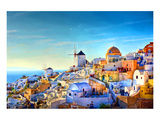Oia village Santorini Greece Giclee-tryk i høj kvalitet af Anonymous