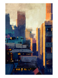 skyscrapers at sunset Prints by  Anonymous