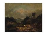 Landscape with Windmill and Rainbow (Partly after Gainsborough) Giclee Print by Joseph Mallord William Turner