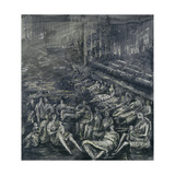 A Tilbury Shelter Scene Giclee Print by Henry Moore