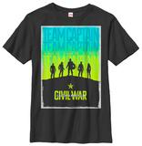 Youth: Captain America Civil War- Team Cap Poster T-Shirt