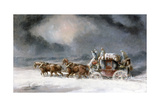 Mail Coach in a Snowstorm Giclee Print by Charles Cooper Henderson