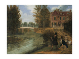 Fly Fishing in the River Lee Near the Ferry Boat Inn Giclee Print by James Pollard