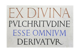 Inscription 'Ex Divina Pulchritudine' Giclee Print by Eric Gill