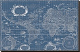 Blueprint World Map, 1630 Stretched Canvas Print by Willem Blaeu