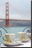 Dream Cafe Golden Gate Bridge 55 Stretched Canvas Print by Alan Blaustein