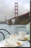 Dream Cafe Golden Gate Bridge 6 Stretched Canvas Print by Alan Blaustein