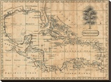Caribbean, 1806 Stretched Canvas Print by Andrew Arrowsmith