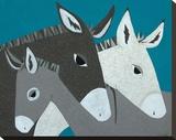 Donkey Family Lærredstryk på blindramme af Casey Craig