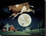Cow Jumps over the Moon Stretched Canvas Print by Lowell Herrero