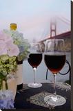 Dream Cafe Golden Gate Bridge 14 Stretched Canvas Print by Alan Blaustein