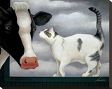 Cow and Cat Stretched Canvas Print by Lowell Herrero