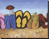 Flip Flop Fence Stretched Canvas Print by Scott Westmoreland