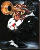 Jazzman Papa Joe Stretched Canvas Print by Leonard Jones