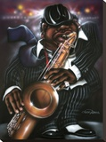 Jazzman Moe Stretched Canvas Print by Leonard Jones